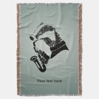 Funny Black and White Badger Saxophone Throw Blanket