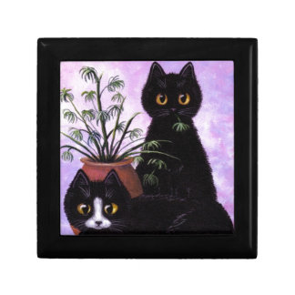 Funny Black and White Cat Creationarts Gift Box