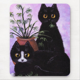 Funny Black and White Cat Creationarts Mouse Mat
