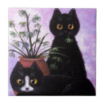 Funny Black and White Cat Creationarts Ceramic Tiles