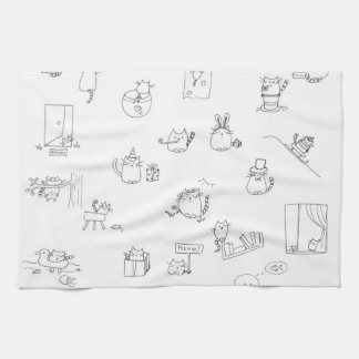 Funny black and white cat doodle towels