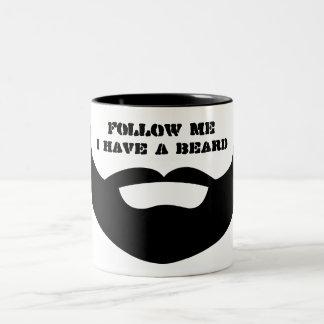"Funny Black and White ""Follow Me, I Have a Beard"" Two-Tone Coffee Mug"