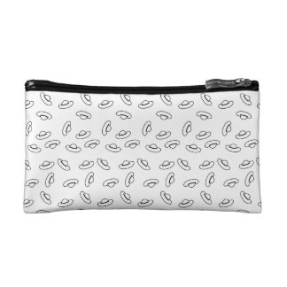 Funny black and white Hat Pattern Cosmetics Bags