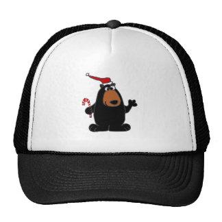 Funny Black Bear in Santa Hat Christmas Art
