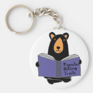 Funny Black Bear Reading about Hiking Trails Basic Round Button Key Ring