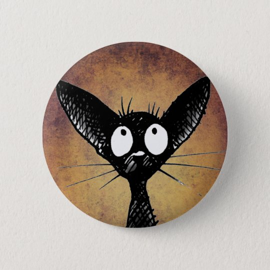 Funny black cat art button badge