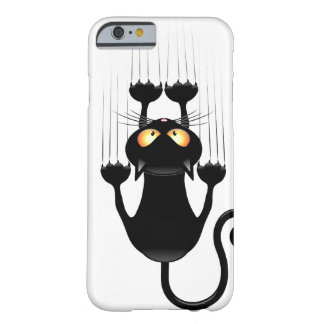 Funny Black Cat Cartoon Scratching Wall Barely There iPhone 6 Case