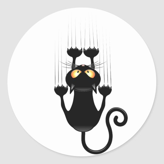 Funny Black Cat Cartoon Scratching Wall Classic Round