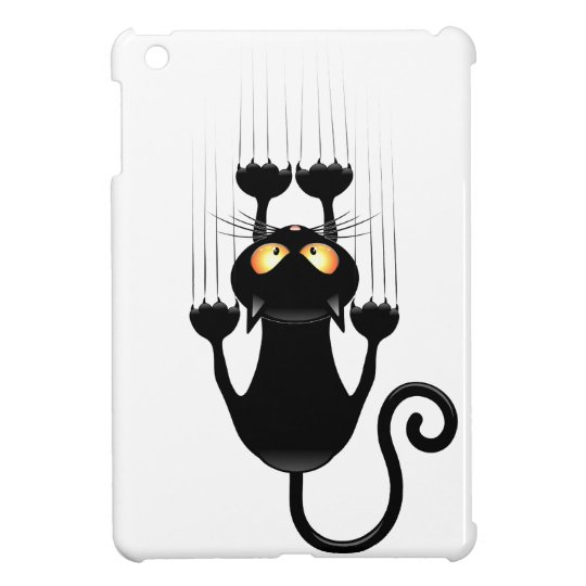 Funny Black Cat Cartoon Scratching Wall Cover For