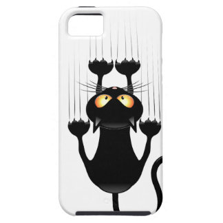Funny Black Cat Cartoon Scratching Wall iPhone 5 Cover