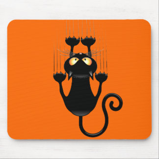 Funny Black Cat Cartoon Scratching Wall Mouse Mat