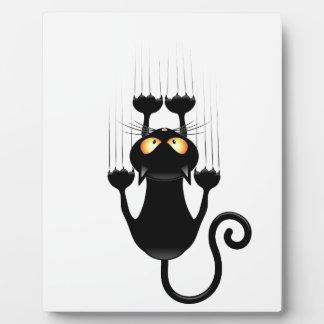 Funny Black Cat Cartoon Scratching Wall Plaque