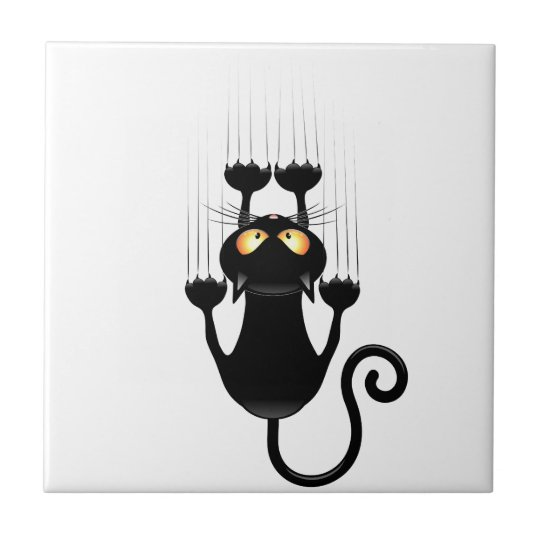 Funny Black Cat Cartoon Scratching Wall Tile