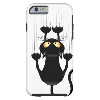 Funny Black Cat Cartoon Scratching Wall Tough iPhone 6 Case