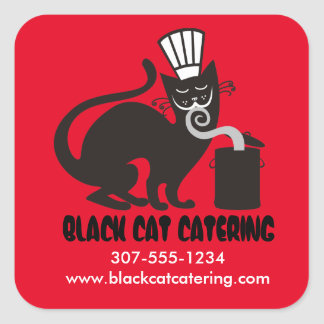 Funny black cat chef hat aromas culinary catering square sticker