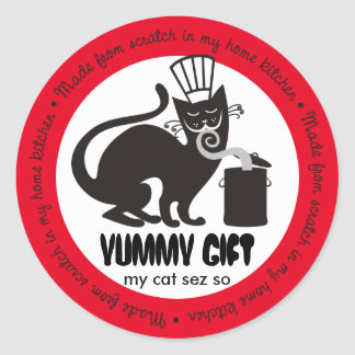 Funny black cat chef hat aromas culinary catering round sticker