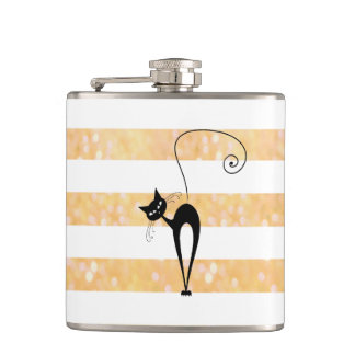 Funny  black cat elegant glittery stripes  girly hip flask