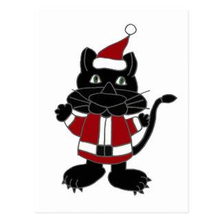 Funny Black Cat in Santa Outfit Christmas Cartoon Postcard