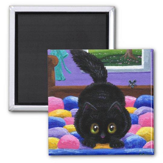 Funny Black Cat Mouse Quilt Magnet