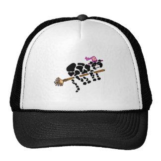 Funny Black Cat on Magical Broom Art Cap