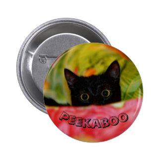 Funny black cat peekaboo 6 cm round badge