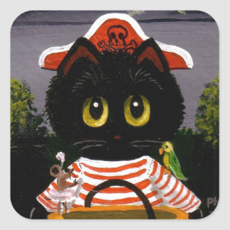 Funny Black Cat Pirate Creationarts Lisa Adams Square Sticker