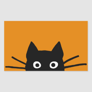 Funny Black Cat Rectangular Sticker