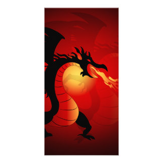 Funny black dragon spewing out fire picture card