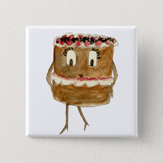 Funny Black Forest Gateau Quirky Watercolour Art 15 Cm Square Badge