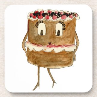 Funny Black Forest Gateau Quirky Watercolour Art Coaster