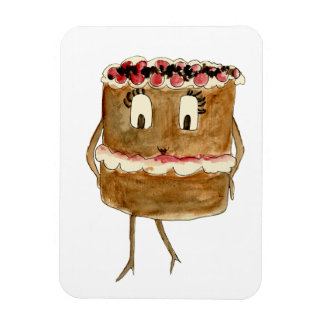 Funny Black Forest Gateau Quirky Watercolour Art Magnet