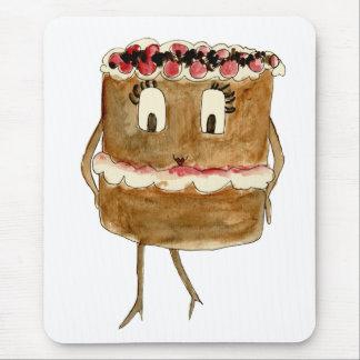 Funny Black Forest Gateau Quirky Watercolour Art Mouse Mat