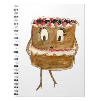 Funny Black Forest Gateau Quirky Watercolour Art Spiral Notebook