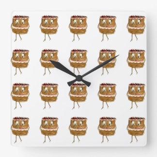 Funny Black Forest Gateau Quirky Watercolour Art Square Wall Clock