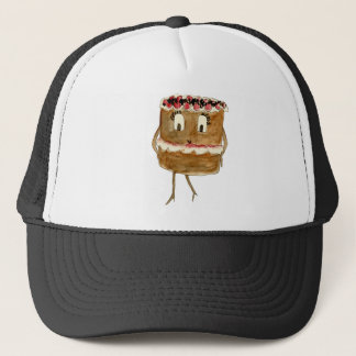 Funny Black Forest Gateau Quirky Watercolour Art Trucker Hat
