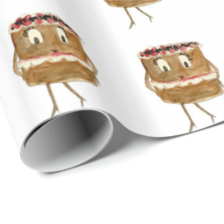 Funny Black Forest Gateau Quirky Watercolour Art Wrapping Paper
