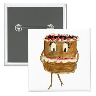 Funny black forest gateaux quirky art badge