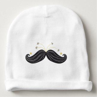 Funny Black golden stars mustache illustration Baby Beanie