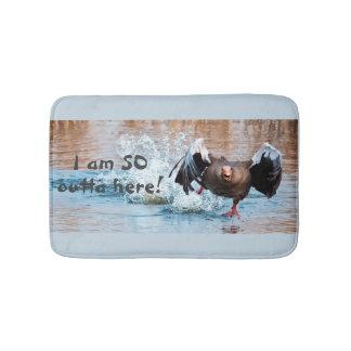 Funny Black Goose Photo Running Away on Water Bath Mat