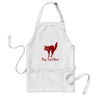 funny black Halloween cat with arched back Standard Apron