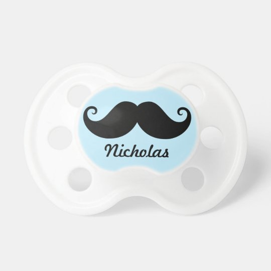 Funny black handlebar moustache stache personalise baby pacifiers