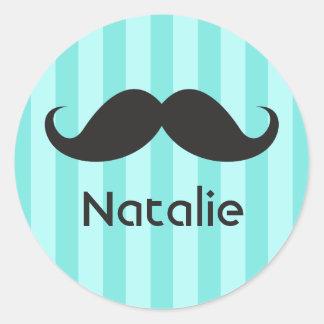 Funny black handlebar mustache moustache aqua name classic round sticker