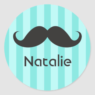 Funny black handlebar mustache moustache aqua name round sticker