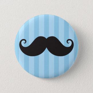 Funny black handlebar mustache moustache blue 6 cm round badge