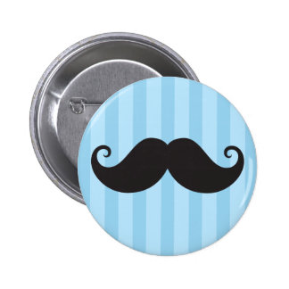 Funny black handlebar mustache moustache blue buttons