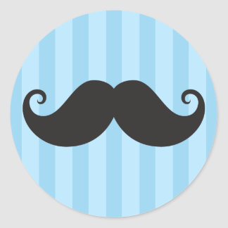 Funny black handlebar mustache moustache blue classic round sticker