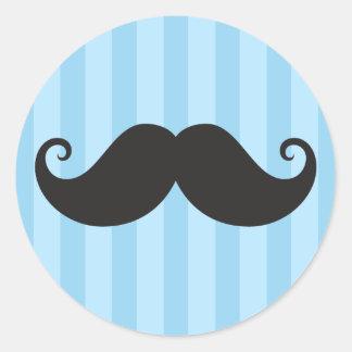 Funny black handlebar mustache moustache blue round sticker