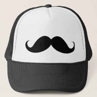 Funny black handlebar mustache moustache trucker hat