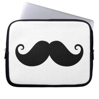 Funny black handlebar mustache trendy hipster laptop sleeve