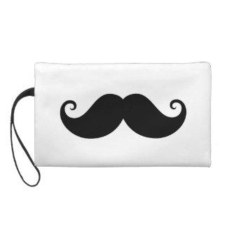 Funny black handlebar mustache trendy hipster wristlet clutch